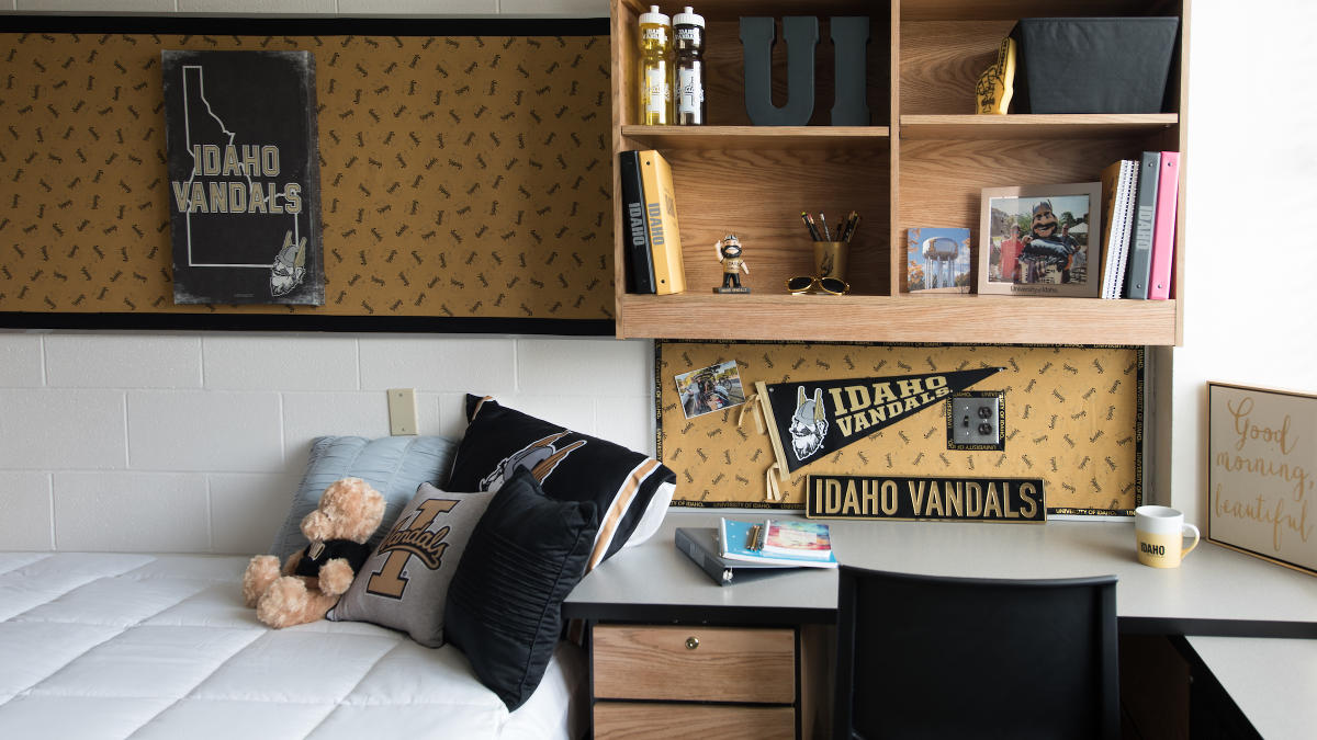 Desk in a dorm room decorated with vandal gear
