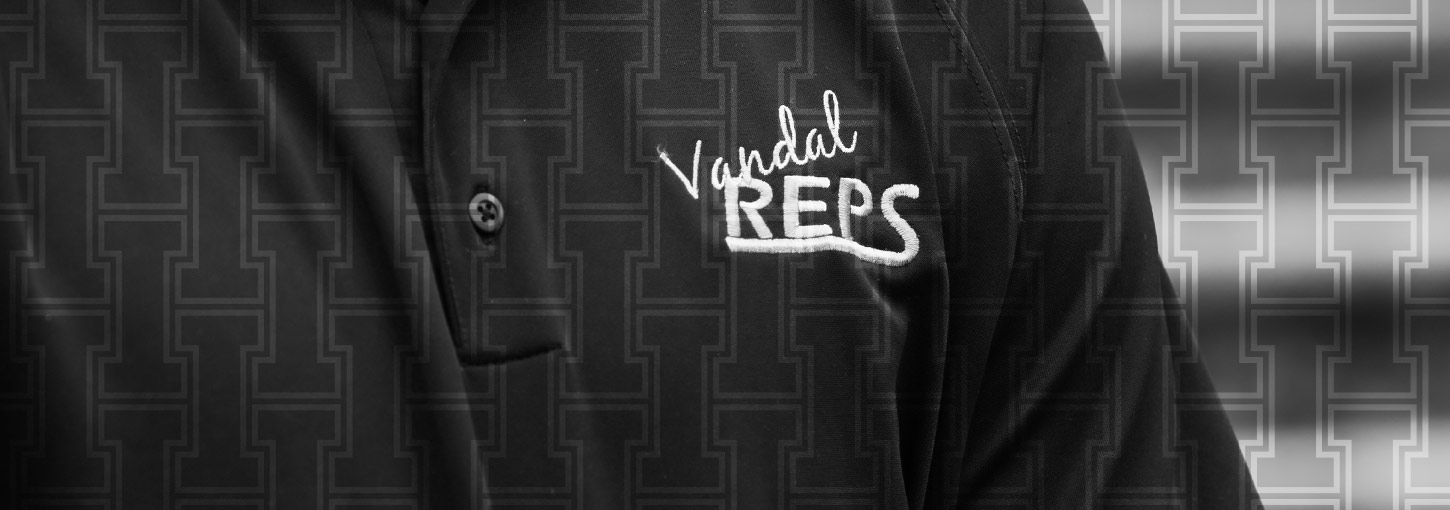 Closeup of Vandal Rep polo shirt