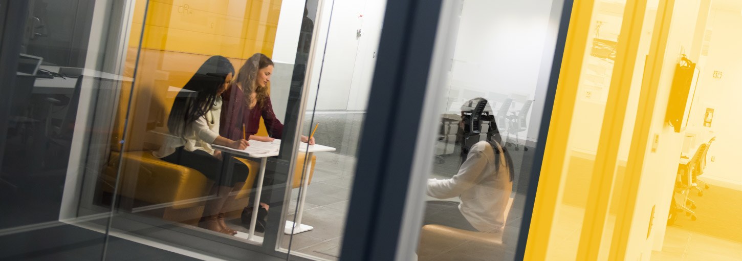 Students study in an alcove in the IRIC building
