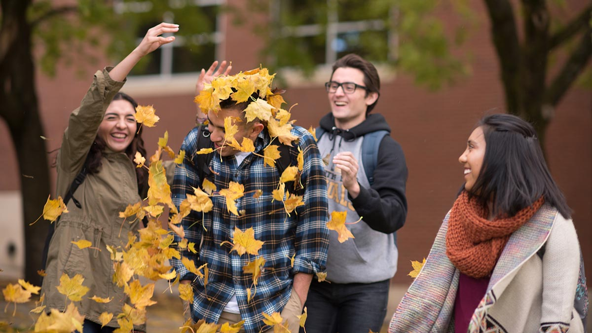 Students throwing fall leaves