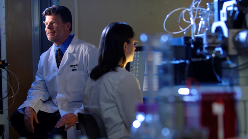 Professor monitoring a student in the lab