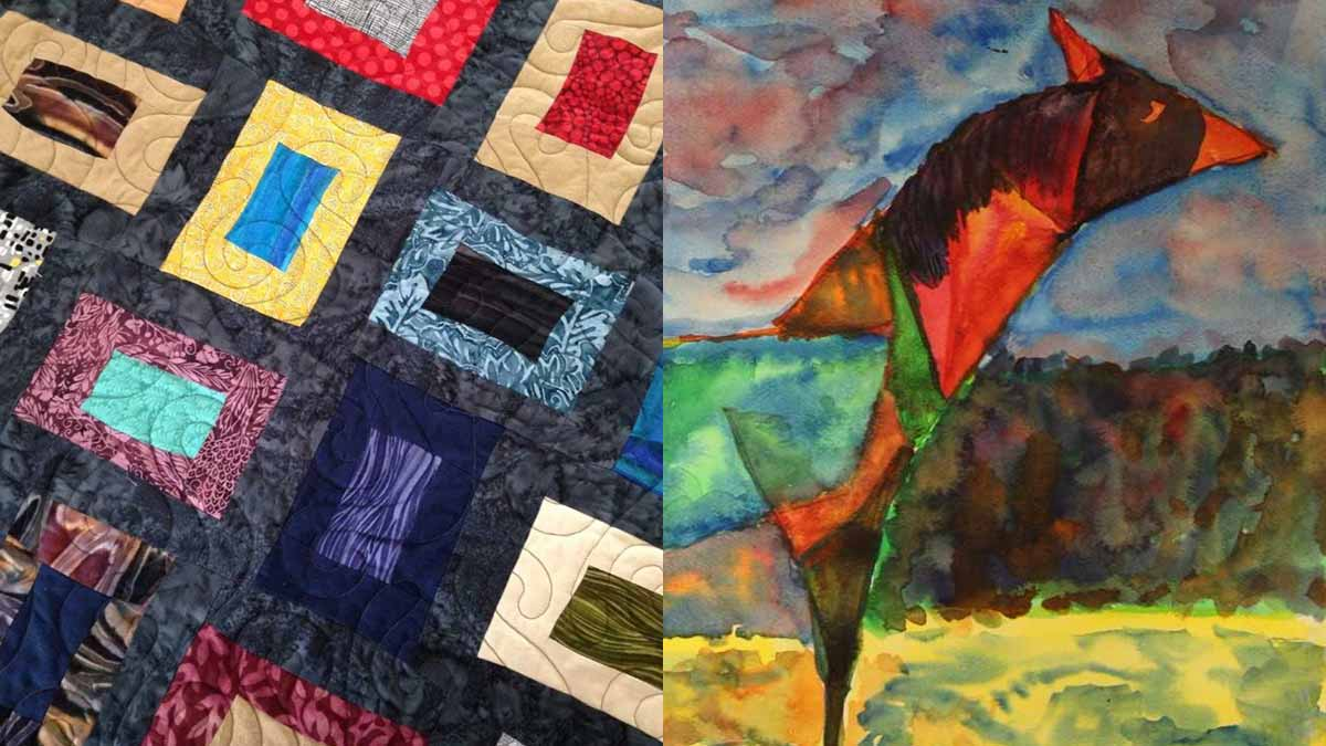 A quilt top with rectangular pieces, left; a watercolor painting of a horse, right