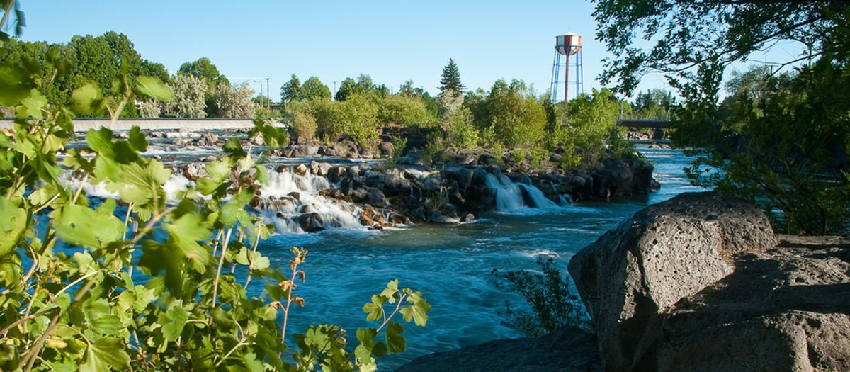 Snake River, downtown Idaho Falls, Bonneville County
