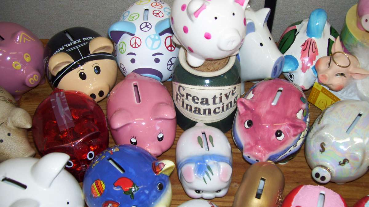 Karen Richel's passion for family finance is reflected in the piggy bank collection at the offices of UI Extension, Latah County.