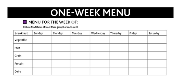 preview of One Week Menu