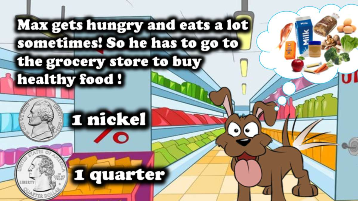 "Max the dog imagines different foods. ""Max gets hungry and eats a lot sometimes! So he has to go to the grocery store to buy healthy food!"" The slide also shows two coins labeled ""1 nickel"" and ""1 quarter."""