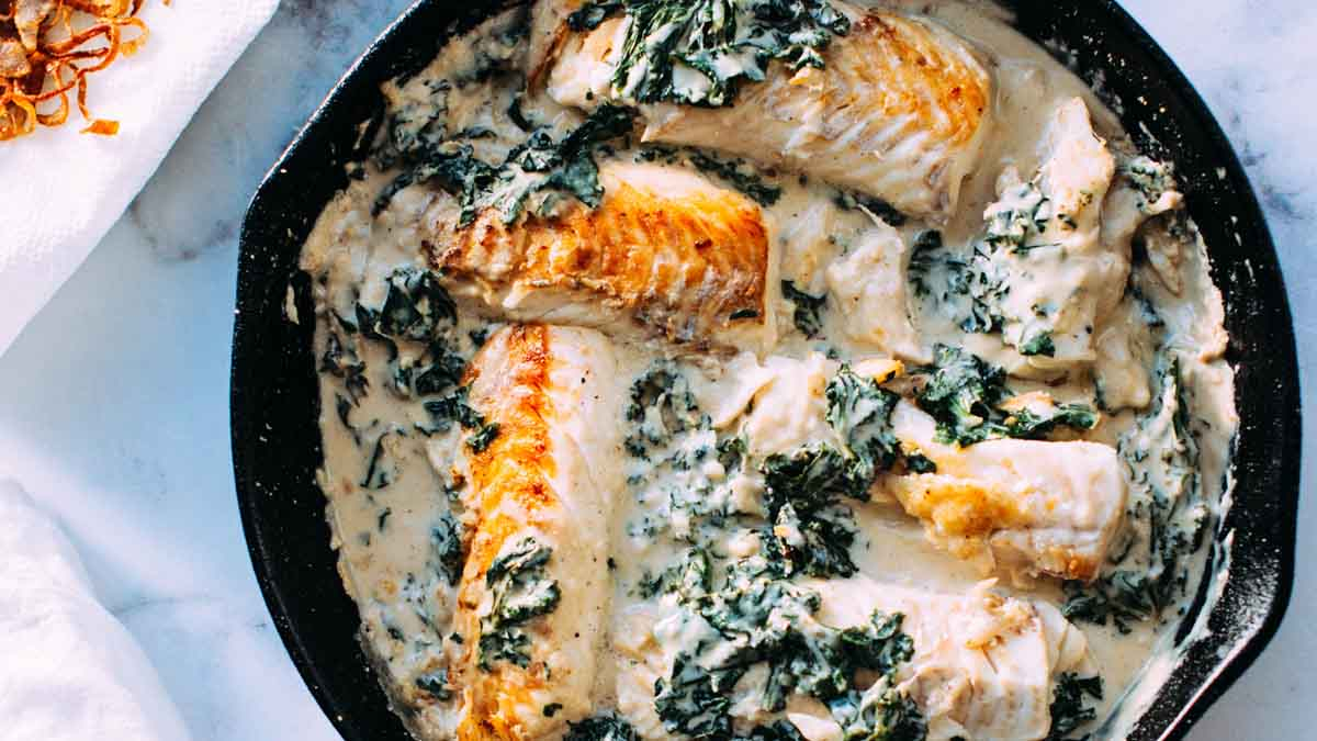 Fish in creamed sauce