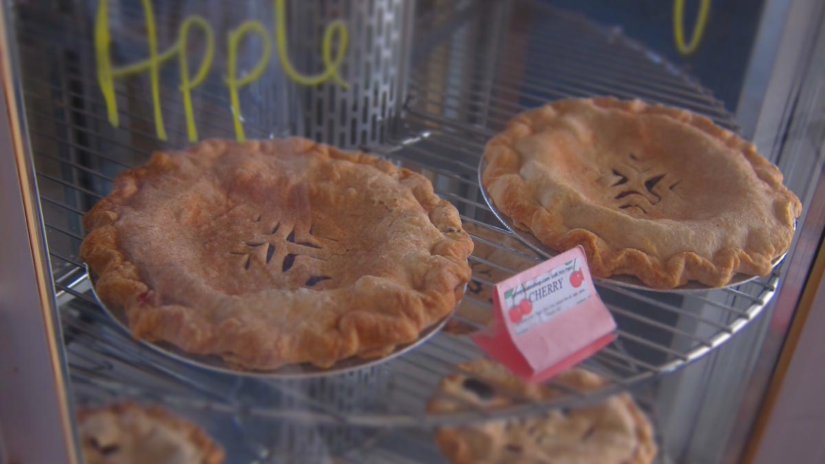 display of apple pie