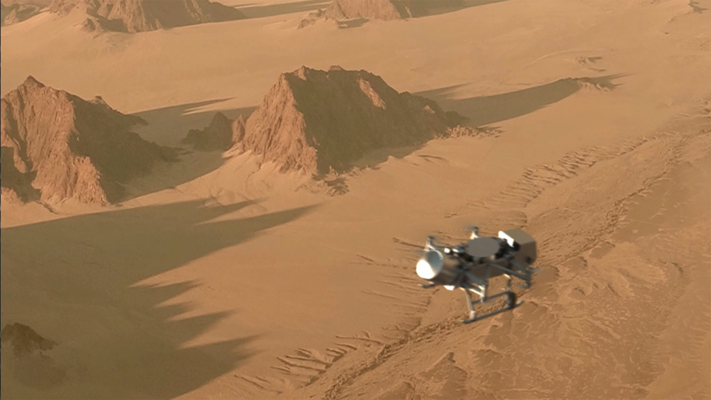 A rendered image of the Dragonfly drone flying over Titan