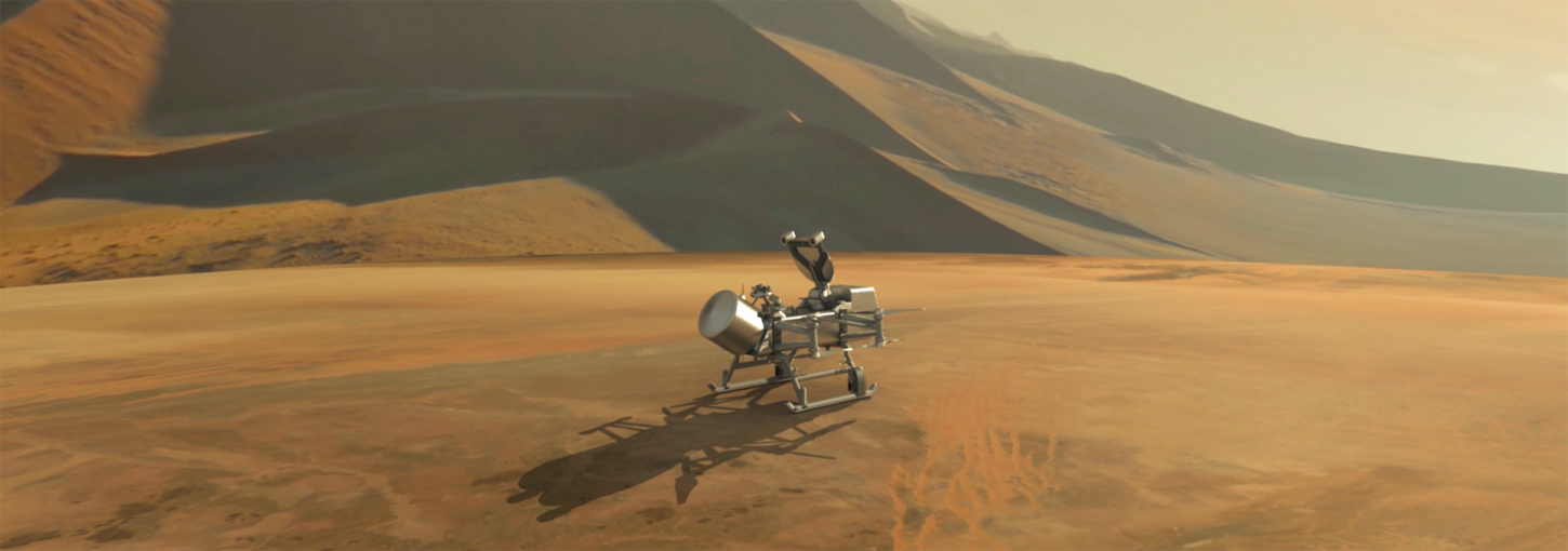 A rendered image of the Dragonfly drone landed on Titan