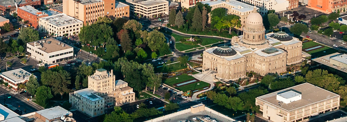 An aerial photograph of the Boise Capital building.