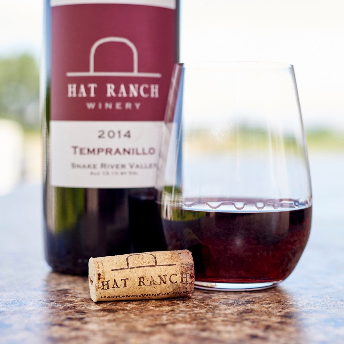 Hat ranch wine and a glass of wine.