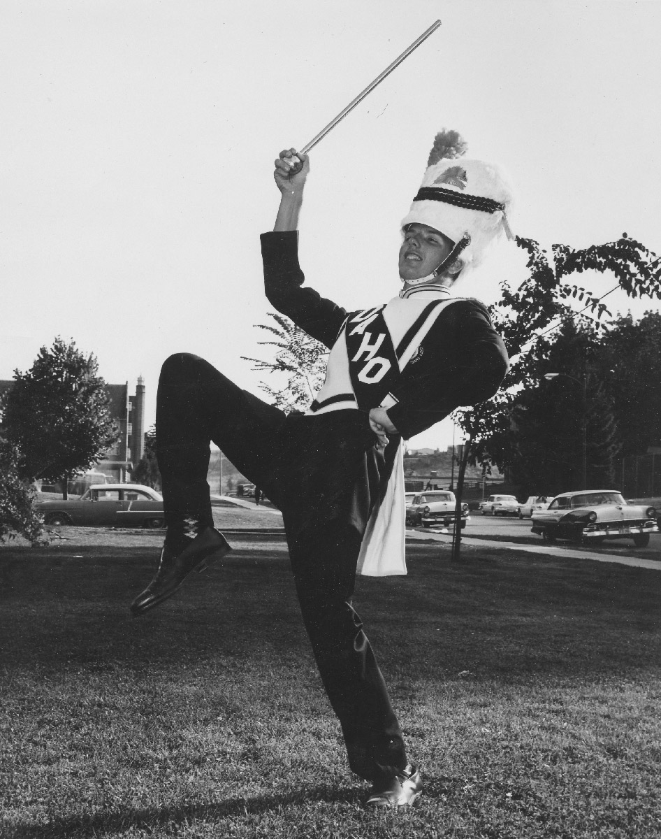 Gary Green poses in marching band garb