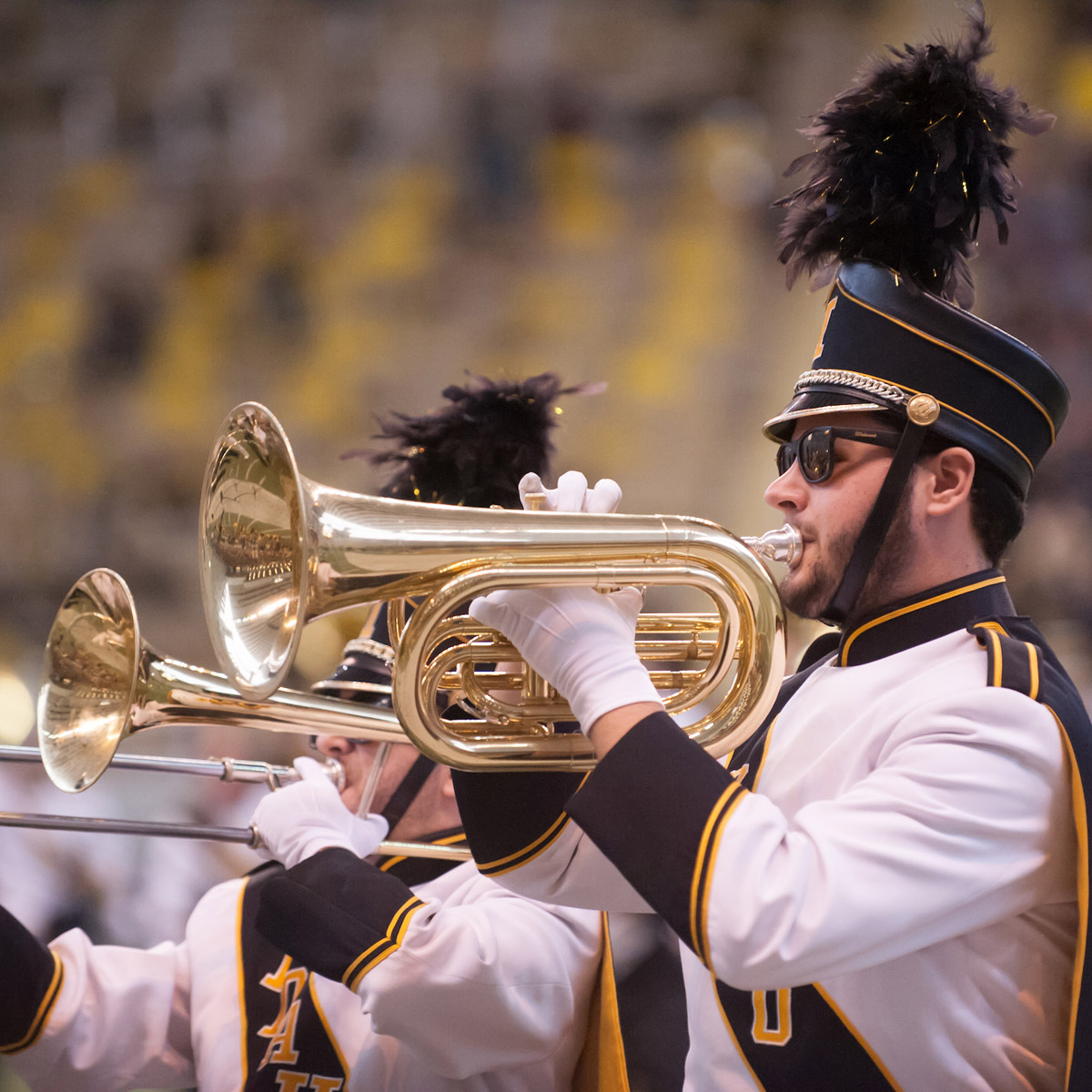 The Vandal Marching Band performs before a crowd in the Kibbie Dome.