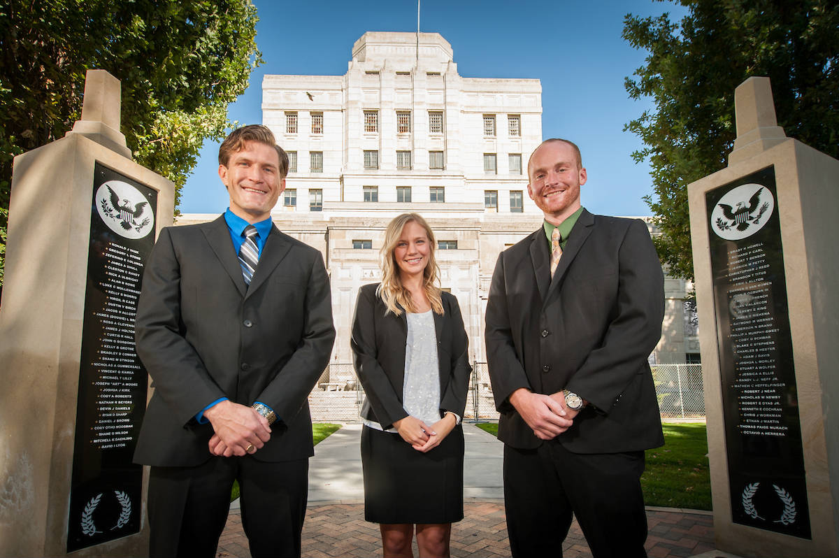 Three law students outside the University of Idaho Boise Law School