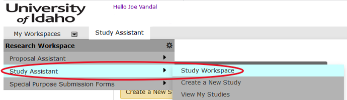 "Expanded menu with highlighted hierarchical menu items titled ""Study Assistant"" and ""Study Workspace"" respectively."
