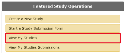 "Four menu items with an item titled ""View My Studies"" highlighted."