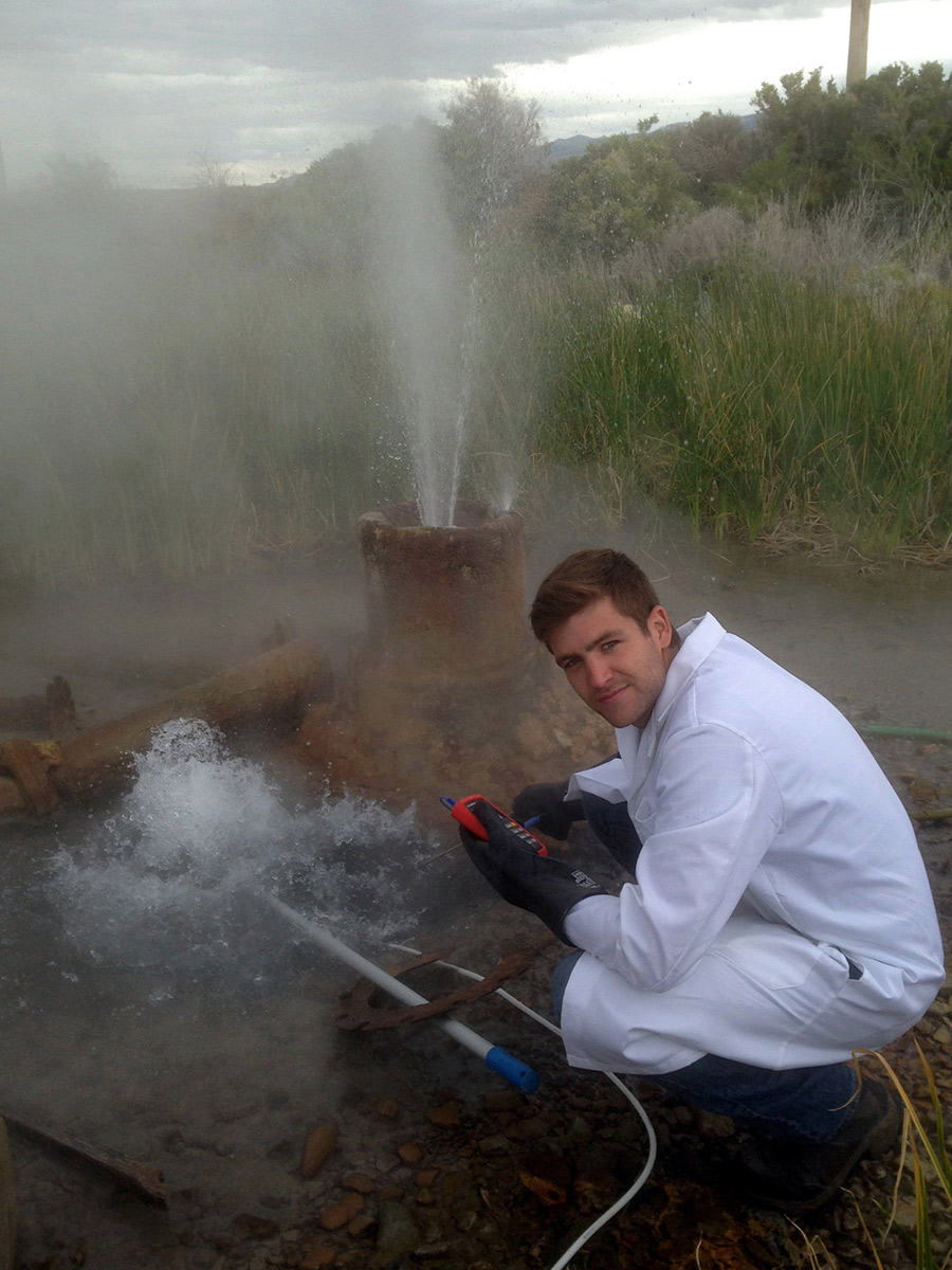 FORGE project - University of Idaho Graduate Student Researcher Cody Cannon at Greenhouse Well in Raft River Valley Idaho