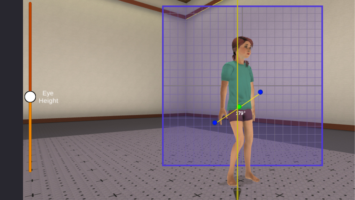 Screenshot of pediatric patient walking in Cleveley's Virtual Clinic.