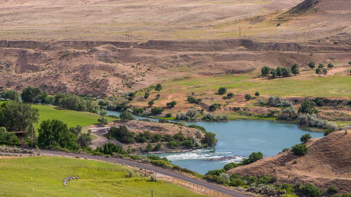 The Snake River and irrigated pastures near Hagerman, Idaho.