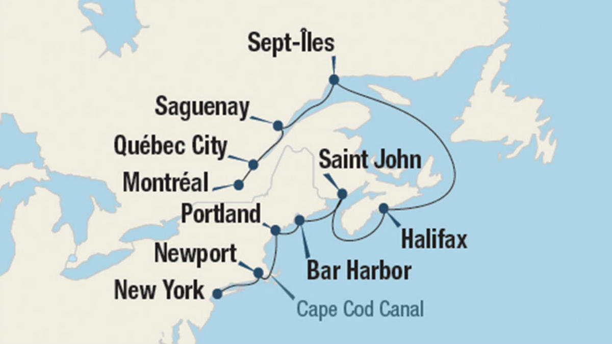Map Of New England And Quebec.Seaside Harbors Of Canada And New England