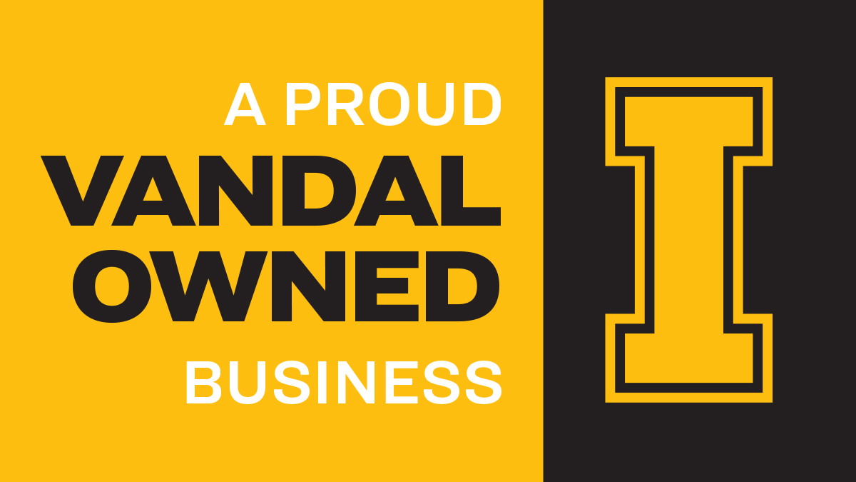 Black and Gold graphic that says a proud Vandal owned business