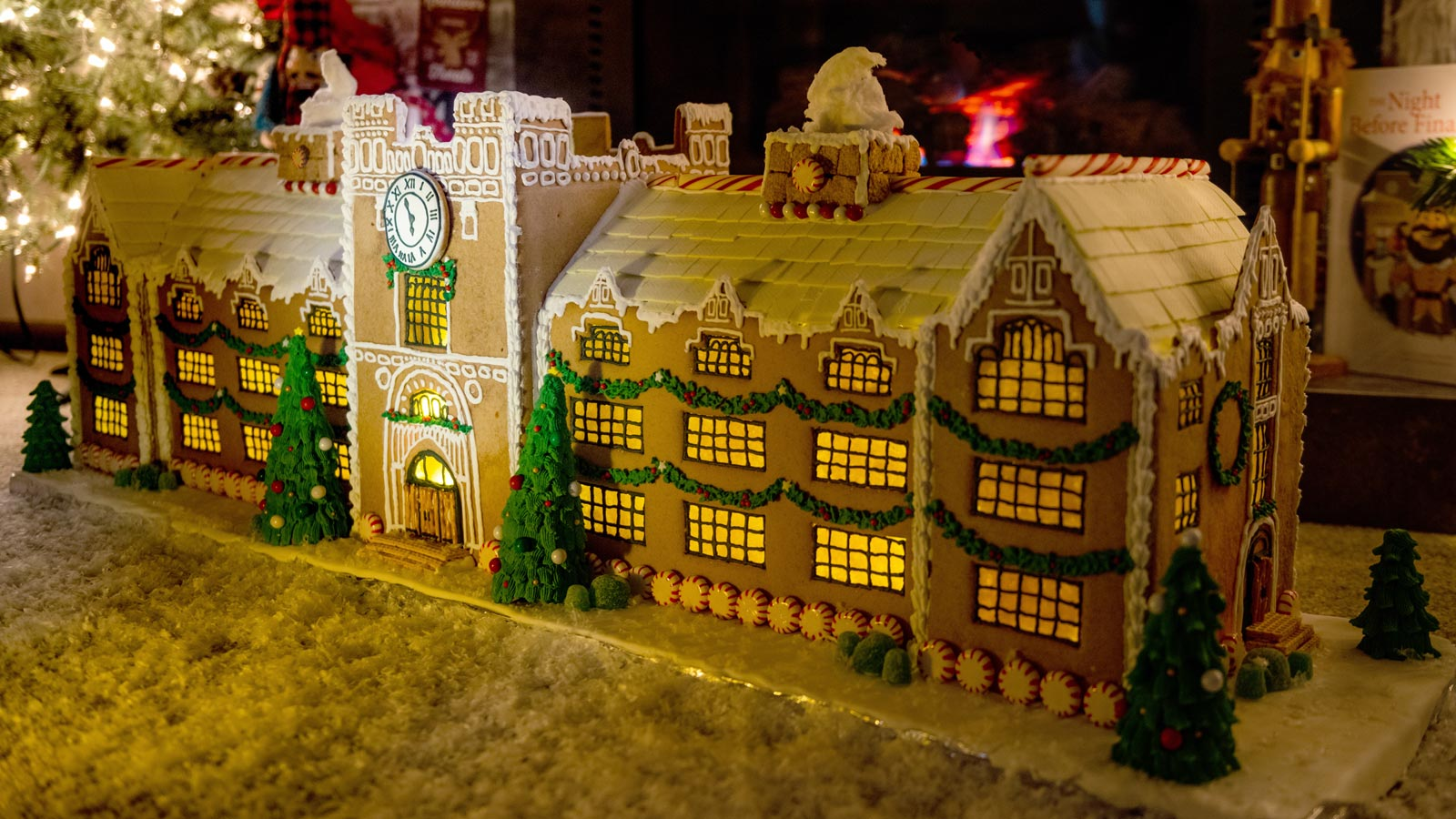 The Administration Building made out of gingerbread, frosting and other sweet treats.