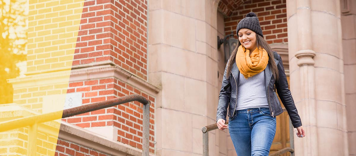 University of Idaho Student in Gold Scarf