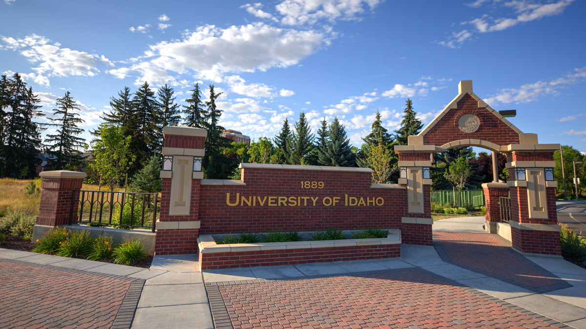 An entryway to the University of Idaho on Stadium Drive