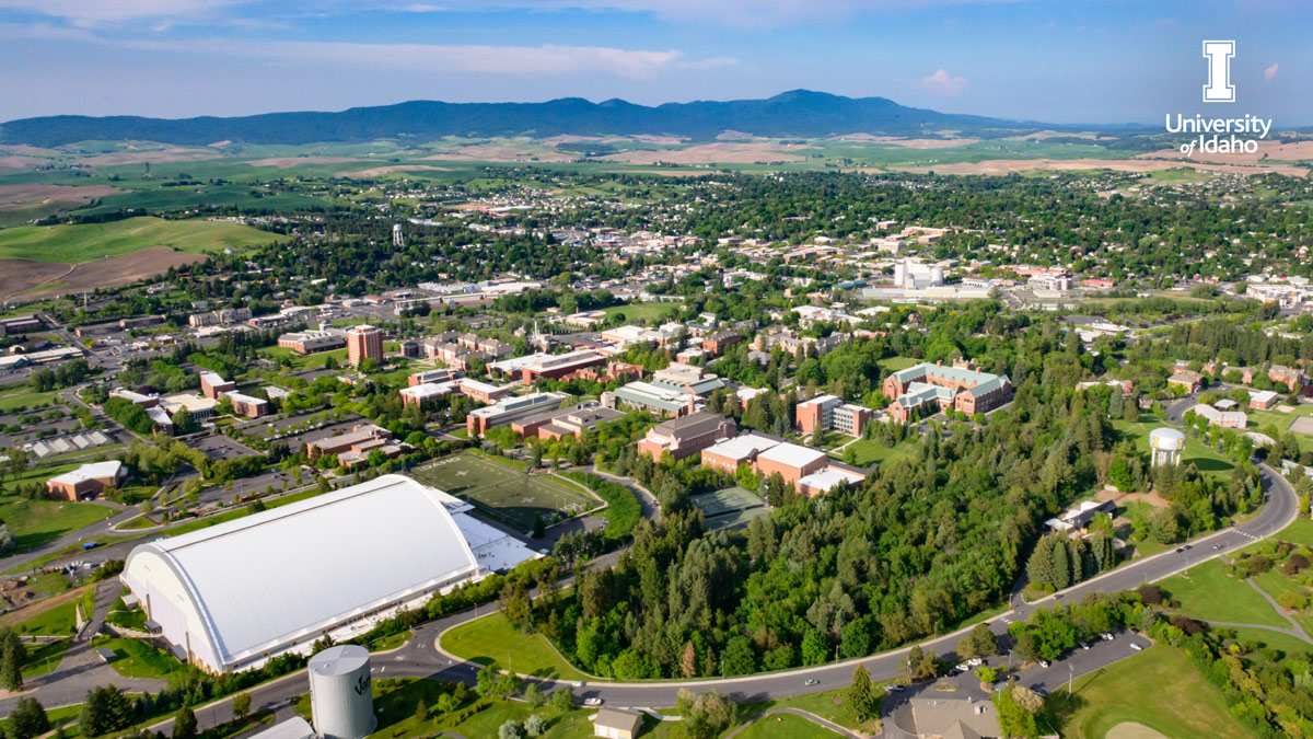 An aerial view of University of Idaho Moscow campus