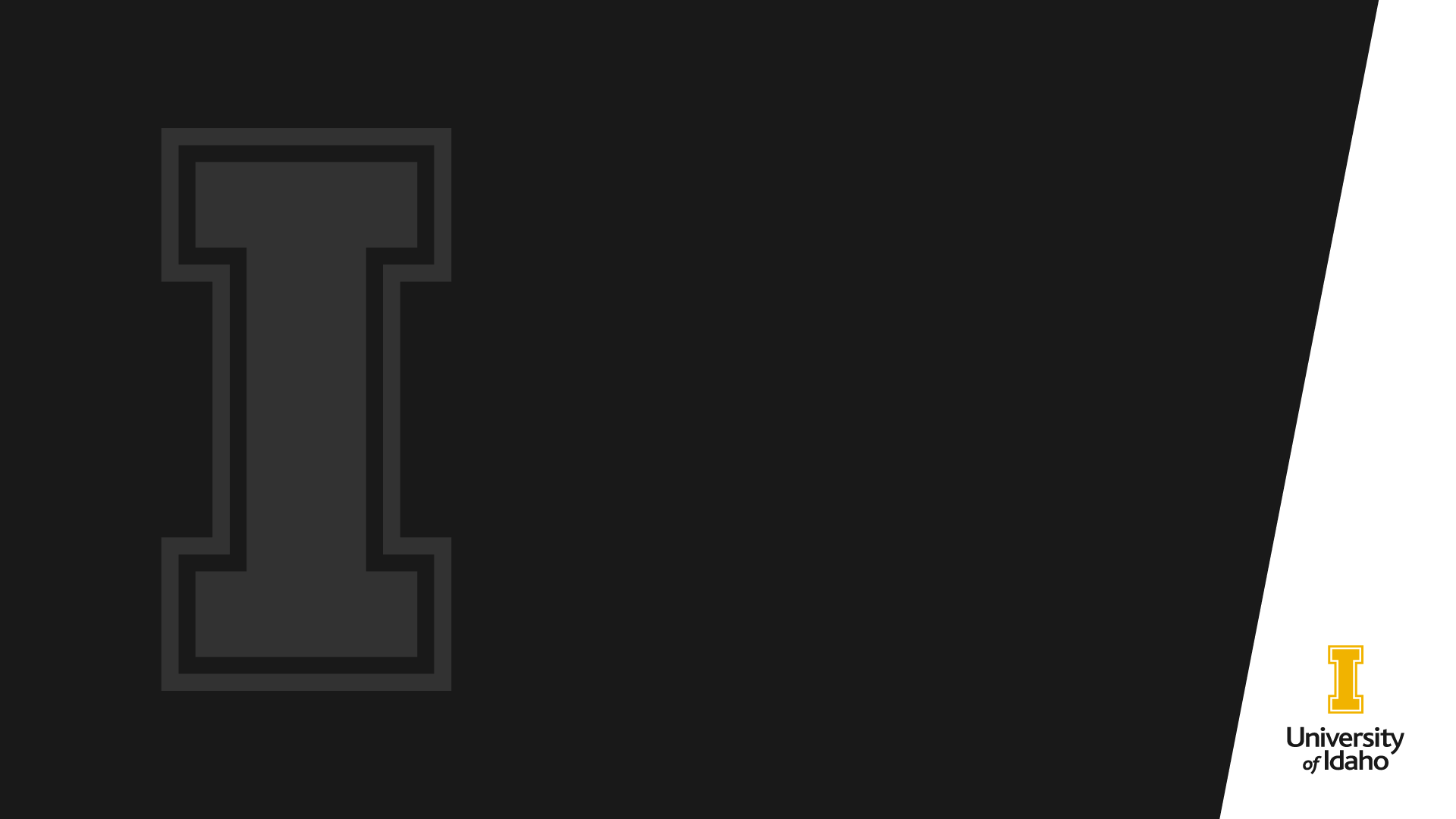 "The University of Idaho ""I"" on a black background."