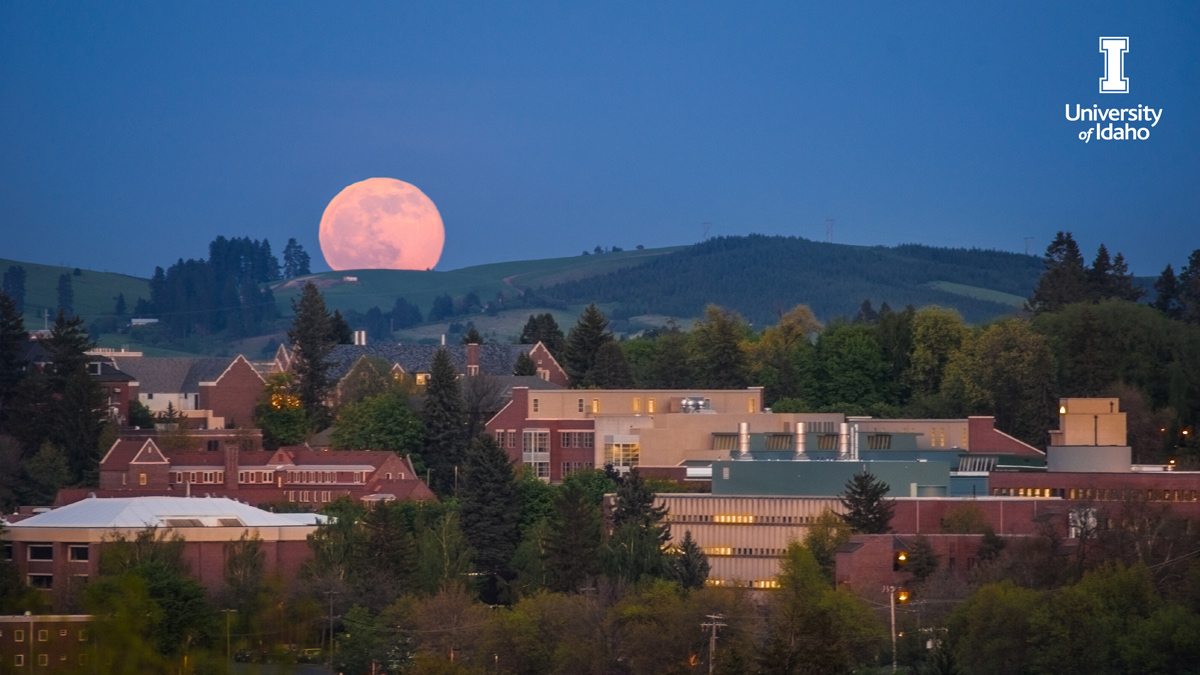 The moon rises over University of Idaho Moscow campus.