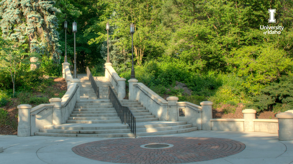 The stairs at the end of the University of Idaho's Hello Walk