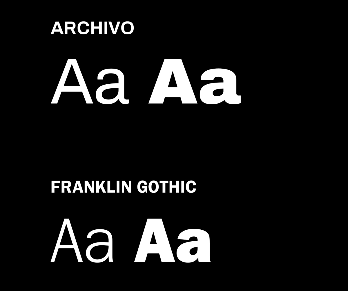 Font Previews of Archivo and Franklin Gothic