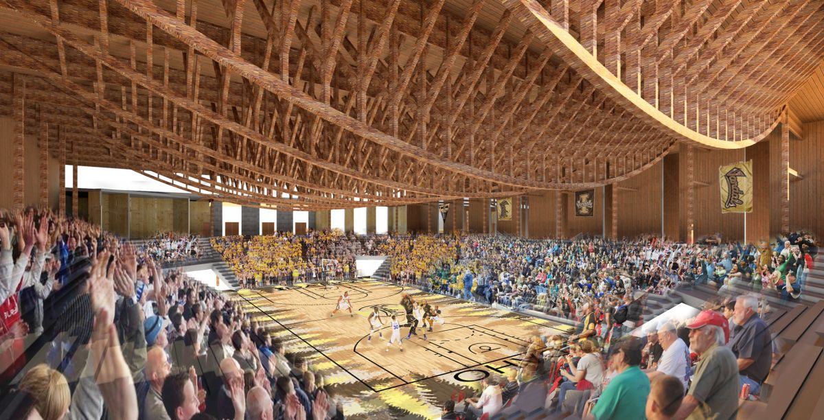 A student rendering of a design for the ICCU Arena.