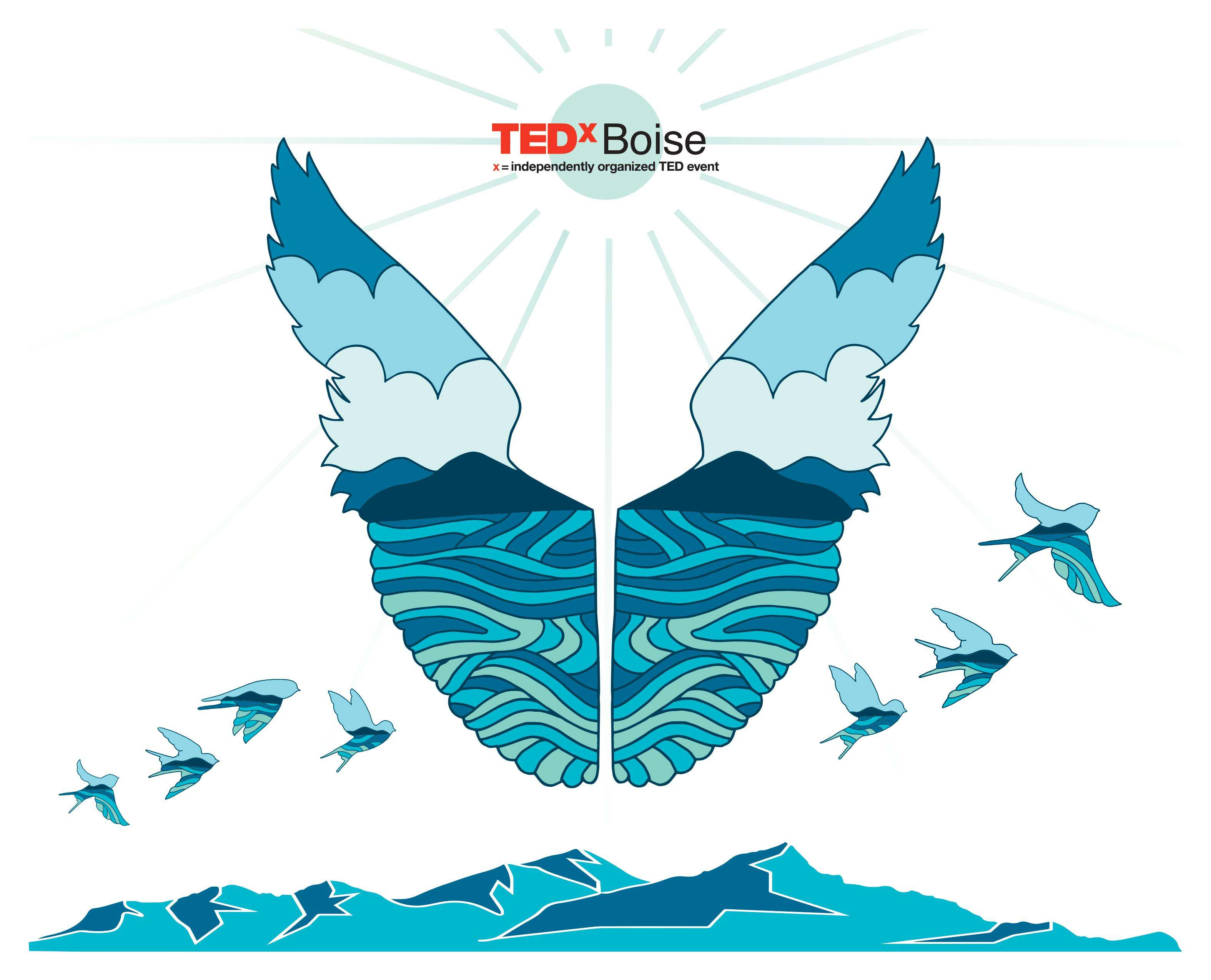 A design by Riley Helal depicting a design in the shape of flying wings with the TEDxBoise logo above it.