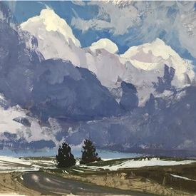 A plein air painting by Aaron Johnson depicting a road through the Palouse hills with dramatic clouds above them.