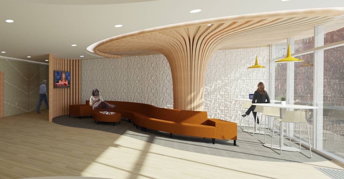 Rendering of a waiting area with a mounted tv, curing orange sofa and two cafeteria tables.