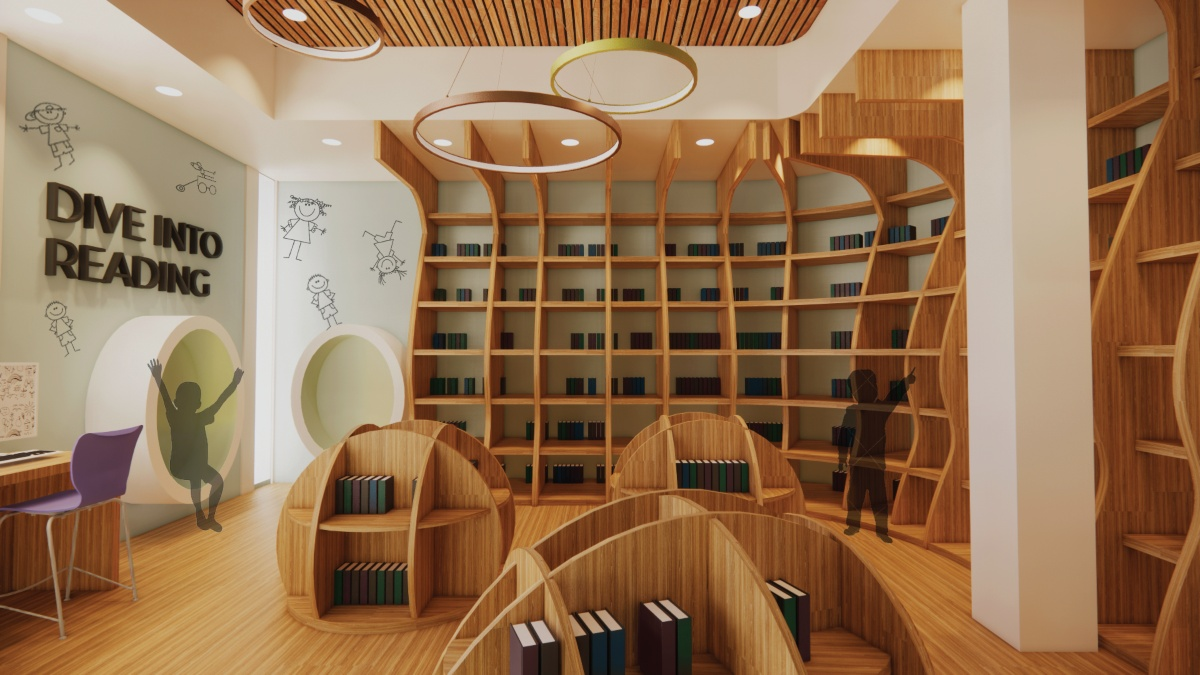 Rendering of a concept for a library in an elementary charter school.
