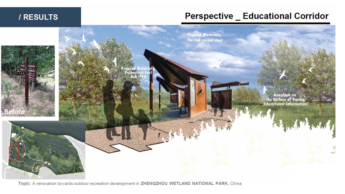 Landscape Architecture student project for a boardwalk through a wetland, showing a proposed educational corridor.