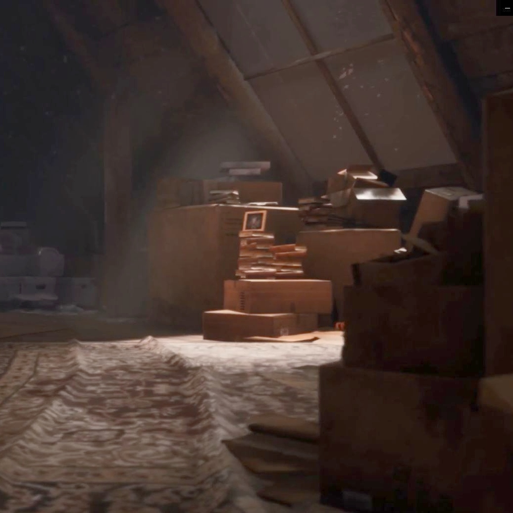Screen capture from a virtual reality environment showing light shining from a window over boxes and furniture in an attic.