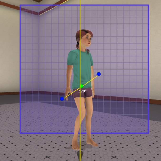 Model of a child in a cross-reality environment used for training physical therapy students.