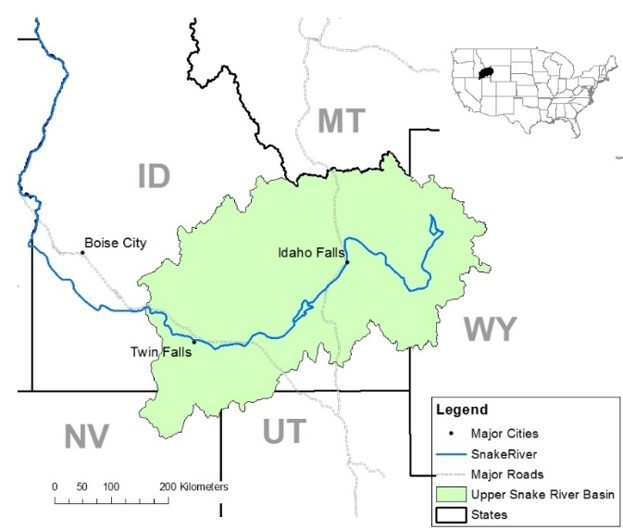 Map of study area, highlighting southeastern Idaho and small areas in western Wyoming and northeastern Nevada.