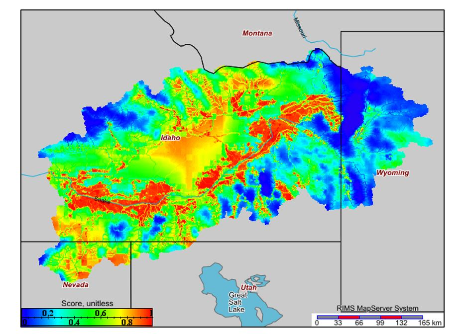 Map showing stressor levels of dissolved inorganic nitrogen in southern Idaho