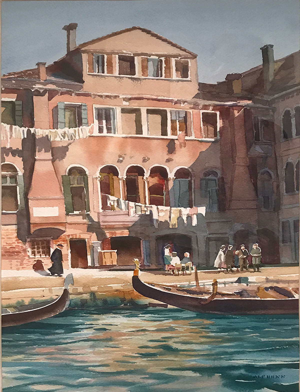 Watercolor of a building and waterfront in Venice, Italy.