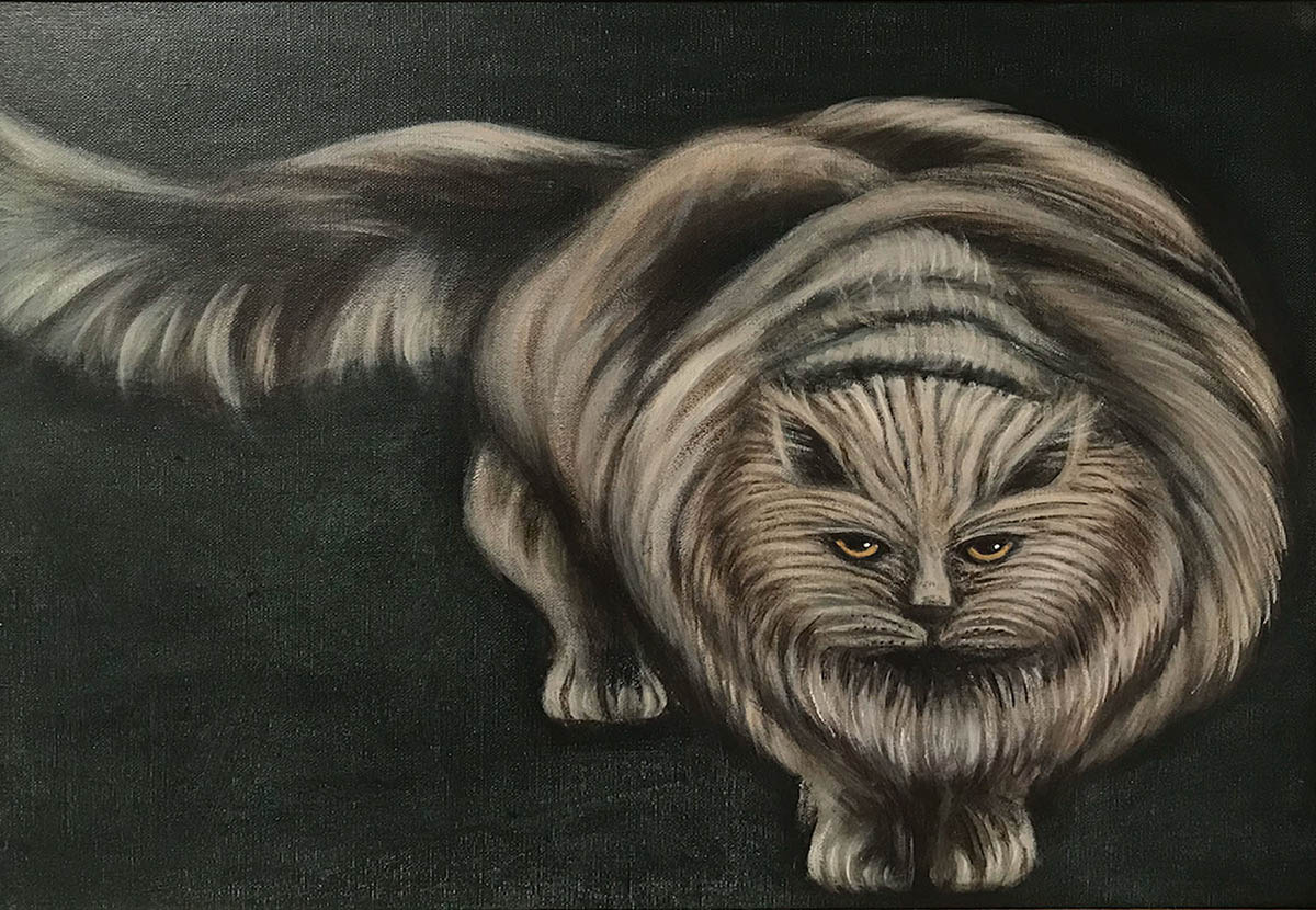 Acrylic of a cat by Tamara Helm.