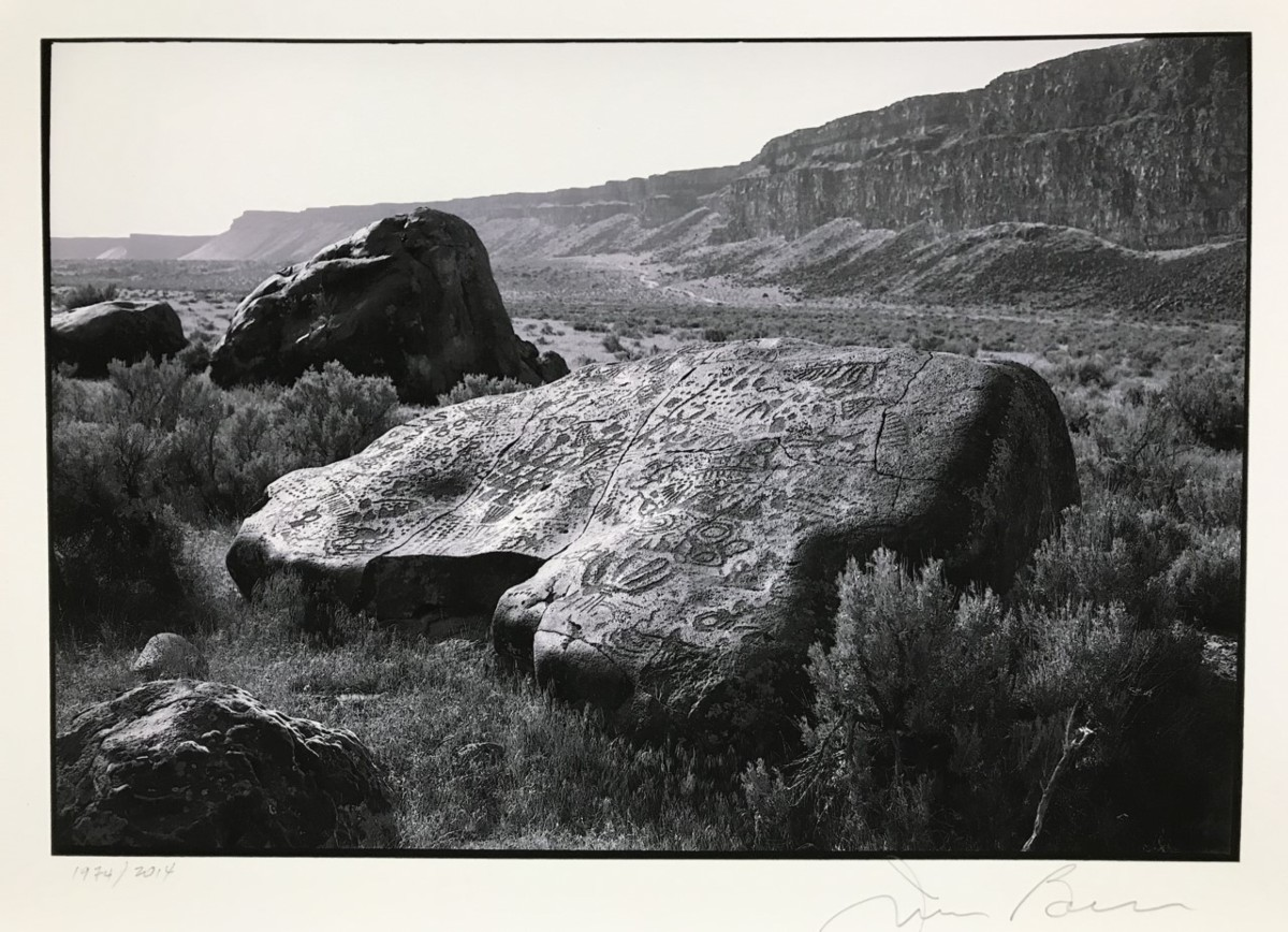 Black-and-white digital photograph of a large rock covered in petroglyphs.