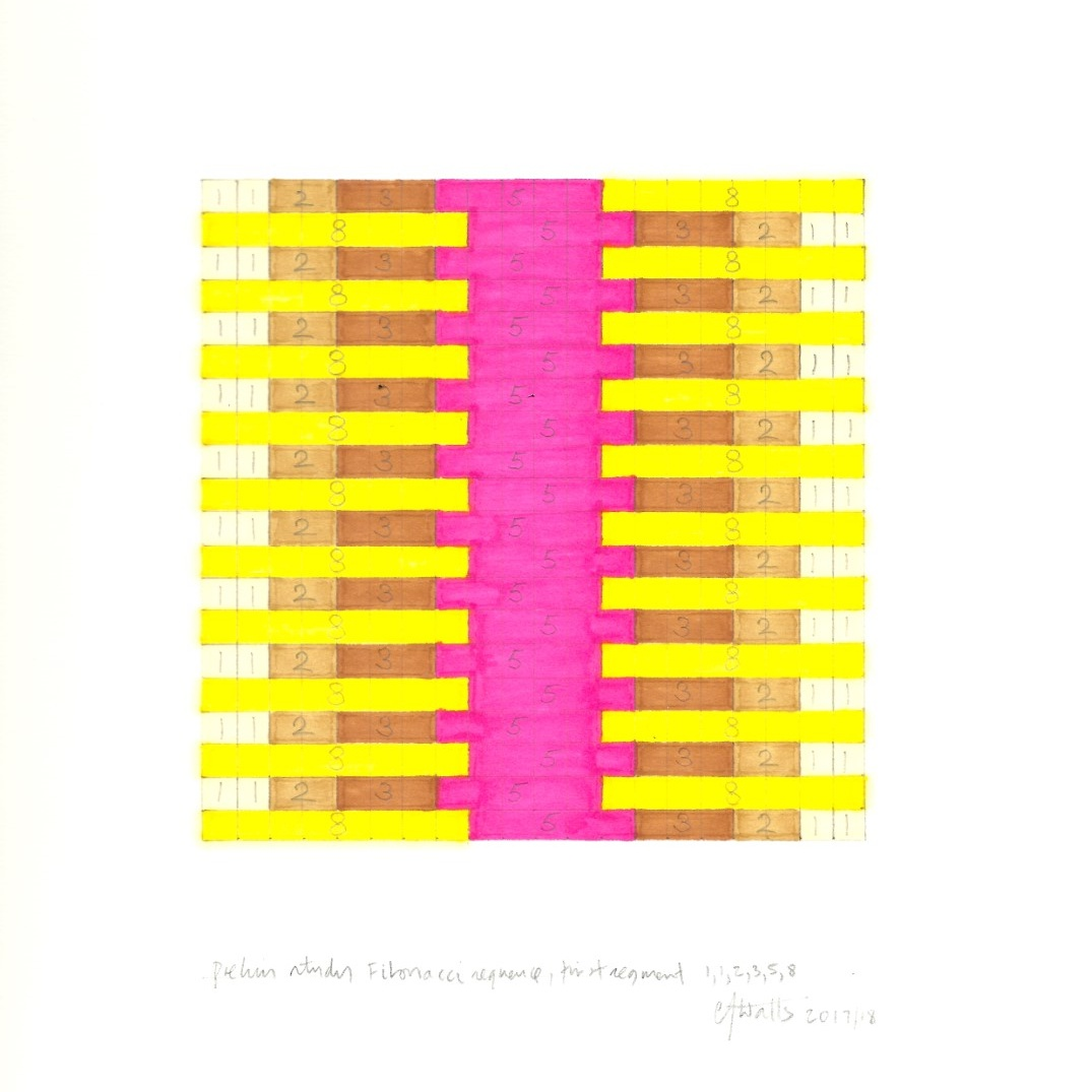 Pen and pencil drawing of colored graph marked with the numbers of the Fibonacci sequence.