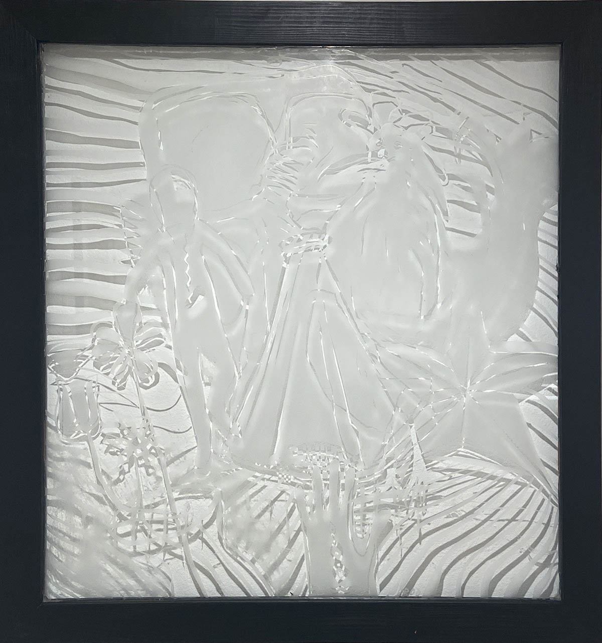 Etched glass artwork by Jennifer Rod.