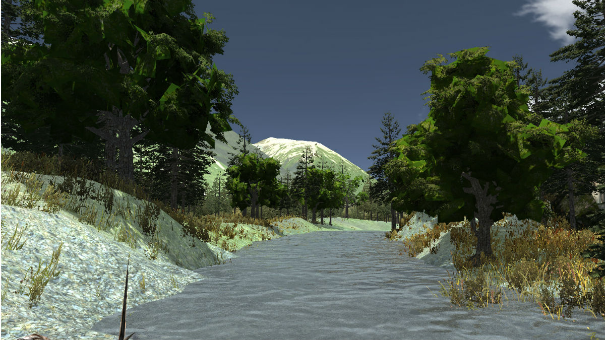 A screenshot from a virtual world of a flowing stream.